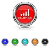 Statistics icon - six colours set — Stock Vector