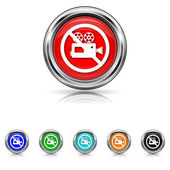Forbidden video camera icon - six colours set — Stock Vector