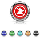Forbidden dogs icon - six colours set — Stock Vector