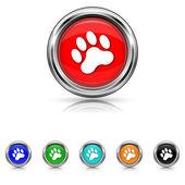 Paw print icon - six colours set — Vector de stock