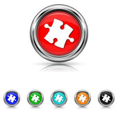 Puzzle piece icon - six colours set — Stock Vector