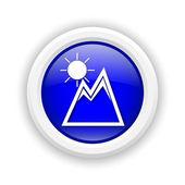 Mountains with sun icon — Stock Photo