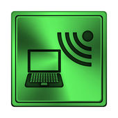 Wireless laptop icon — Stock Photo