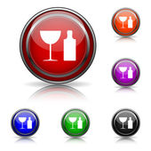Bottle and glass icon — Stock Vector