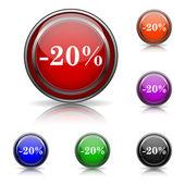 20% の割引のアイコン — ストックベクタ