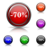 70 procent korting pictogram — Stockvector