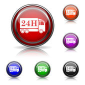 24H delivery truck icon — Stock Vector