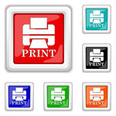 Printer with word PRINT icon — Stock Vector