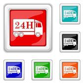 24 時間配信トラック アイコン — ストックベクタ