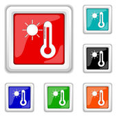 Sun and thermometer icon — Stock Vector