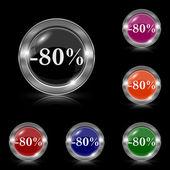 Icono de 80 por ciento de descuento — Vector de stock