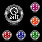 24H clock icon — Stock Vector