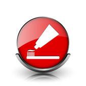 зубная паста и щетка значок — Стоковое фото