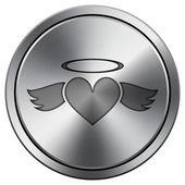 Heart angel icon — Stock Photo