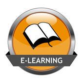Vector Button E-Learning — Stock Vector