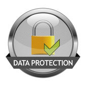 Vector Button Data Protection — Vector de stock