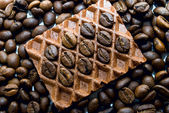 Wafer and coffee — Stock Photo