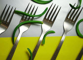 Forks on background — Stock Photo