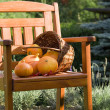 pumkins on chair — Stock Photo