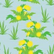 Royalty-Free Stock Vector Image: Yellow flowers on blue background - seamless pattern