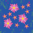 Pink flowers on blue background - seamless pattern — Stockvectorbeeld