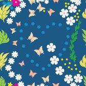 Kleurrijke bloemen en vlinder - naadloze patroon — Stockvector