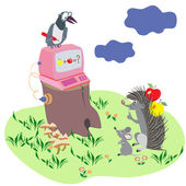 Cartoon illustration with animals — Stock Vector