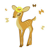 Young deer isolated on white background. — Stock Vector