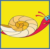 Colorful snail on yellow background — Stock Vector