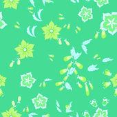 枫叶和鲜花-无缝模式 — 图库矢量图片
