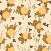 Leafs and flowers - seamless pattern — Stok Vektör