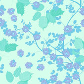 Leafs and flowers - seamless pattern — Wektor stockowy