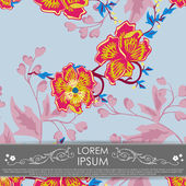 Colorful leafs and flowers - seamless pattern — ストックベクタ