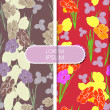 Colorful leafs and flowers - seamless pattern — Vettoriali Stock