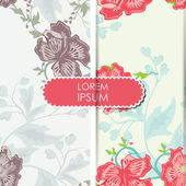 Colorful leafs and flowers - seamless pattern — Stok Vektör