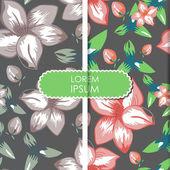Hojas de colores y flores - patrón sin costuras — Vector de stock