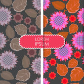 Colorful leafs and flowers - seamless pattern — Stock Vector
