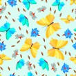 Butterfly with flowers - seamless pattern - Stockvectorbeeld