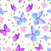 Butterfly with flowers - seamless pattern — Stock Vector
