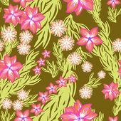 разноцветные листья и цветы - бесшовный фон — Cтоковый вектор