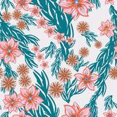Folhas coloridas e flores - padrão sem emenda — Vetorial Stock