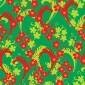 Colorful leafs and flowers - seamless pattern — Wektor stockowy