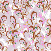 Kleurrijke blaadjes en bloemen - naadloze patroon — Stockvector