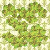 花の緑の背景 - シームレスなパターン — ストックベクタ