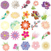 Set of creative flowers — Stock Vector