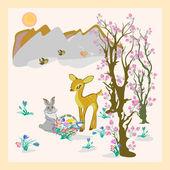 Easter, cute deer — Stock Vector