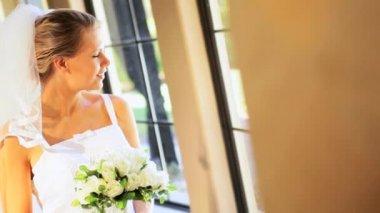 Caucasian Bride Smiling to Camera — Stock Video