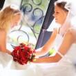 Cute Blonde Flower Girl Laughing Bride — Stock Video