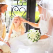 Stock Video: Pretty Caucasian Bride Young Girl Attendant and Grandmother