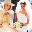 Stock Video: Family Portrait Bride Cute Bridesmaid and Grandmother